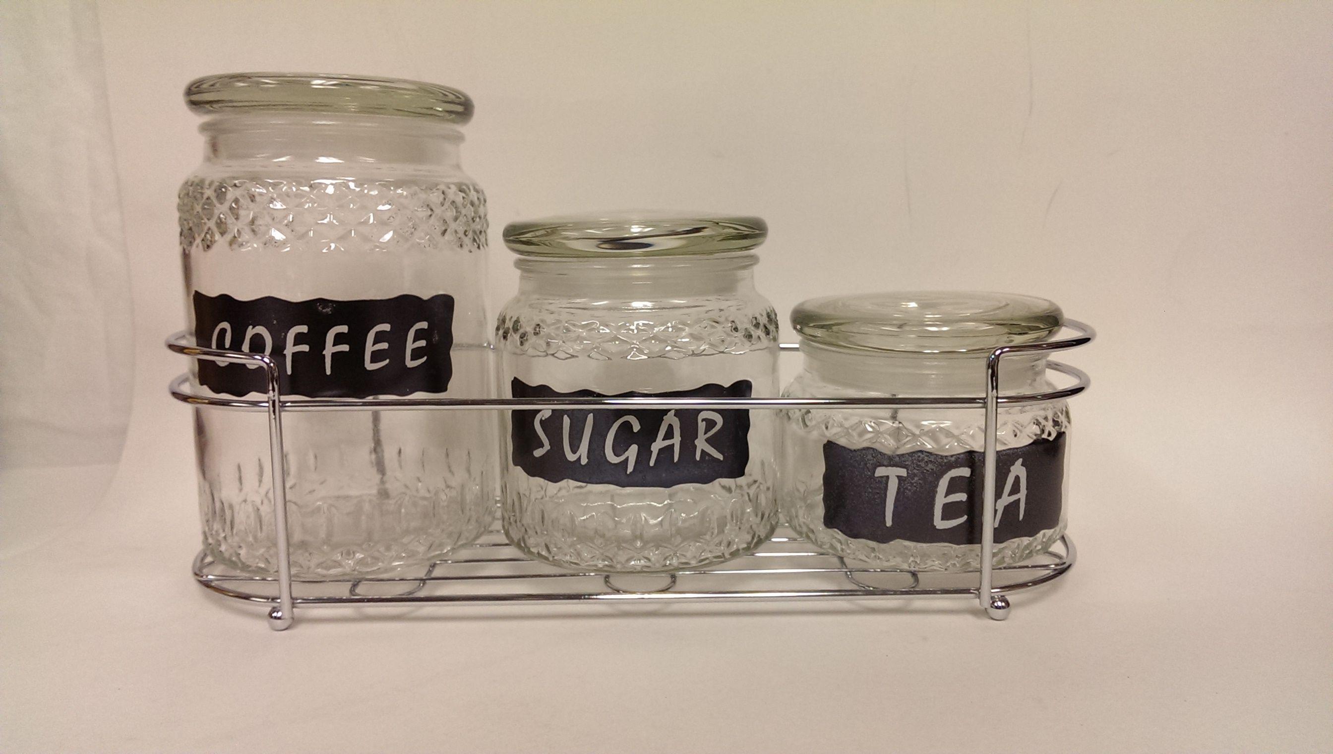 Decorative Jars Mg6011B Decorative Glass Tea Coffee & Sugar Storage Jars