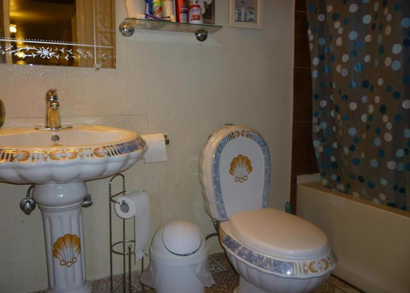 Bathroom Sinks Phoenix Az ugly seashell-themed bathroom pedestal sink toilet bowl tank in