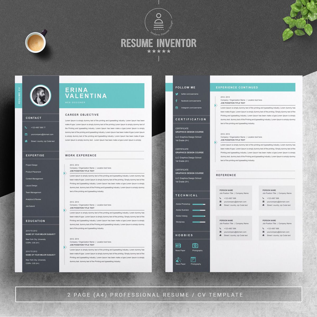 Erina Valentina Resume Template Graphic Design Trends Creative