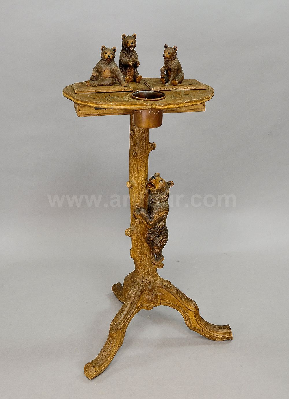 A Fantastic Carved Smoking Side Table With Bears Antique Black