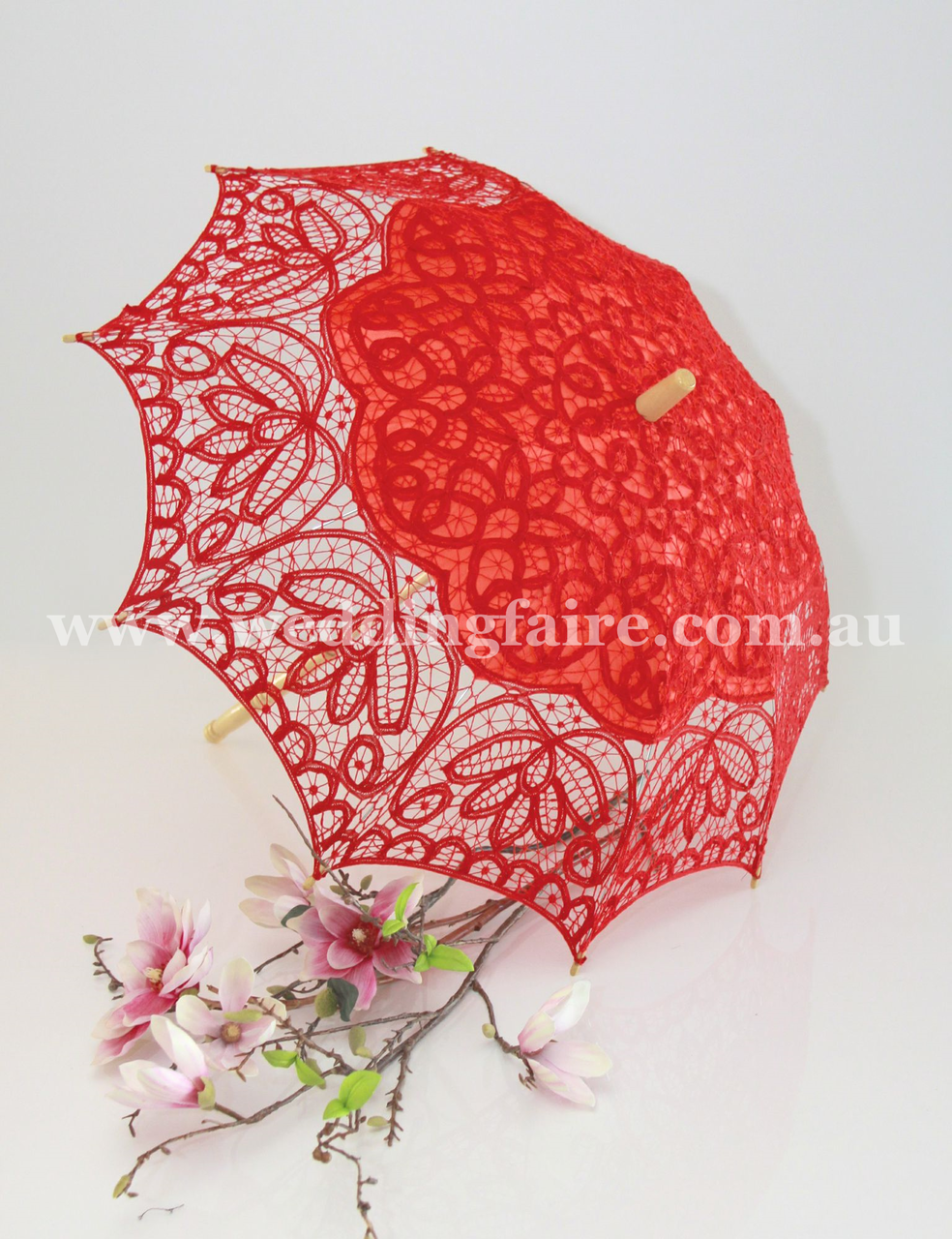 Classic Lace | 80cm D Parasol - Red | Lace parasol, Weddings and Wedding