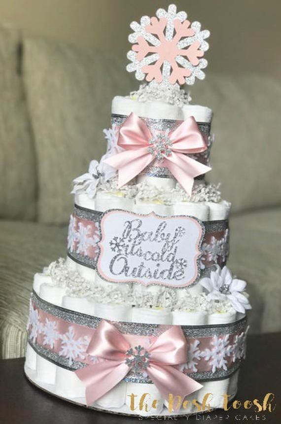 Snowflake Baby It's Cold Outside Diaper Cake, Pink Silver White Winter Wonde...
