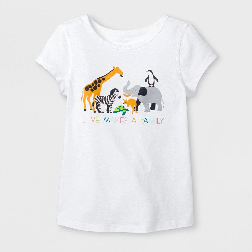 161f75f31 Toddler Girls' Adaptive Short Sleeve Animals Graphic T-Shirt - Cat & Jack  White 5T