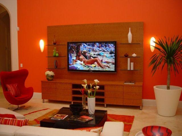 Burgunder Zimmer · Oranger Innenraum · Déco De Salon Fortement Inspirée Par  Les Nuances Rouges Orange
