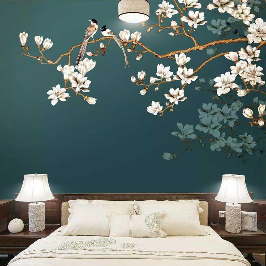 Papel de parede personalizado pintado à mão, estilo chinês, flores, pássaros, sala de estar, decoração de parede, pintura, papel de parede