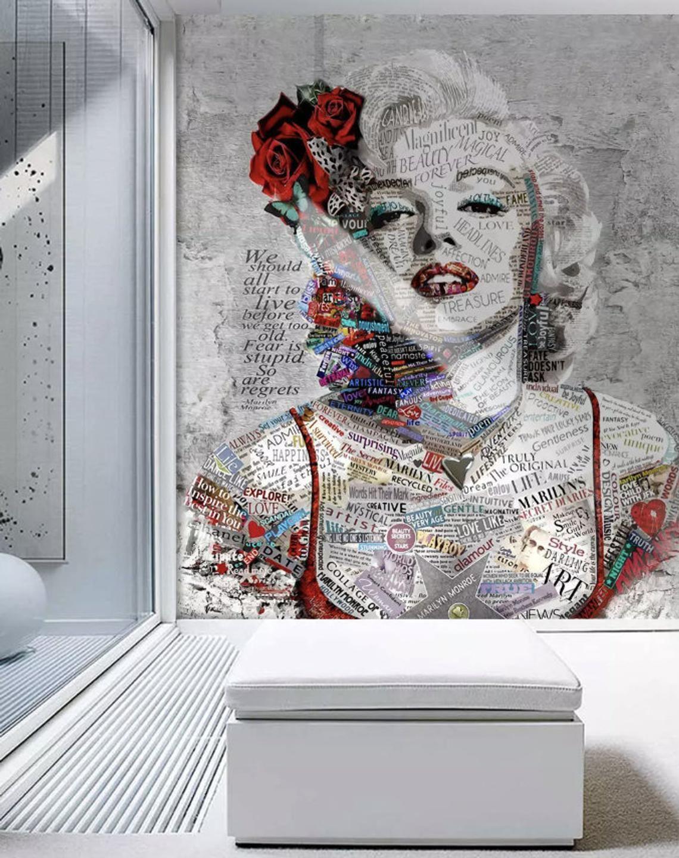 Pop Art Wallpaper Marilyn Monroe Wall Mural Typographie