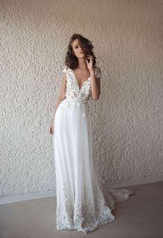 Princess A-line Deep V-neck Lace Applique Beach Wedding Dresses Boho With  Sweep Train BMD1028 -  Applique  Beach  BMD1028  Boho  deep  dresses  Lace  ... 1bf6c85aef4c
