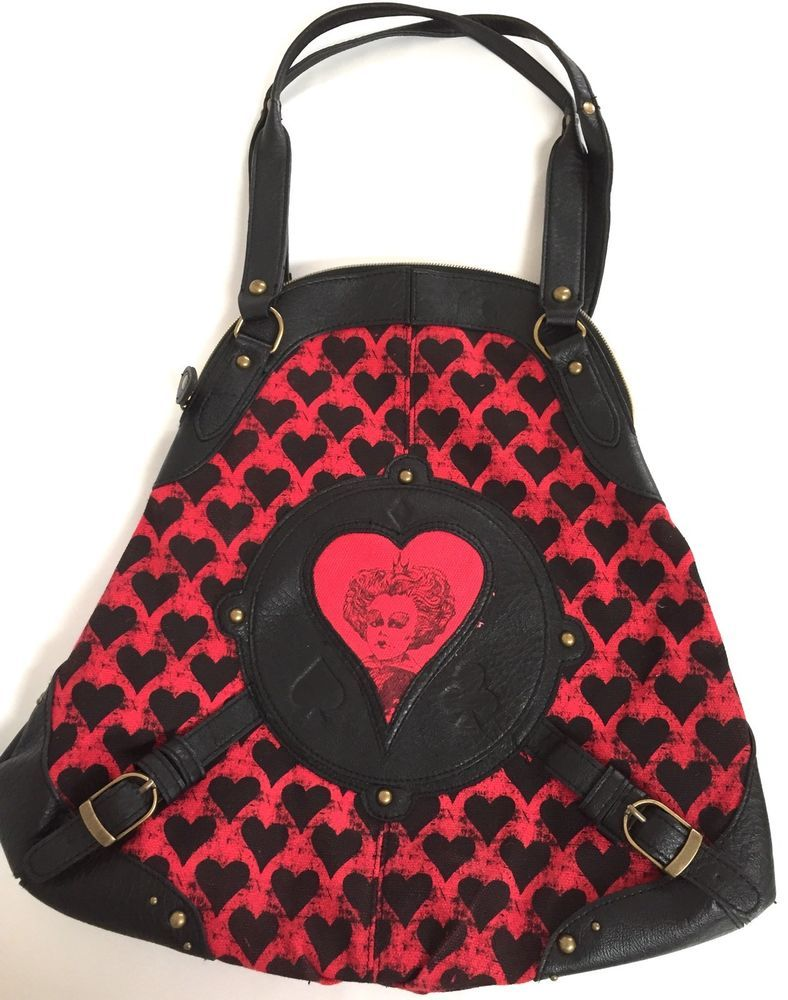 """Disney Alice In Wonderland Queen Of Hearts Keyhole Purse Red Canvas Black Pleather 15"""""""
