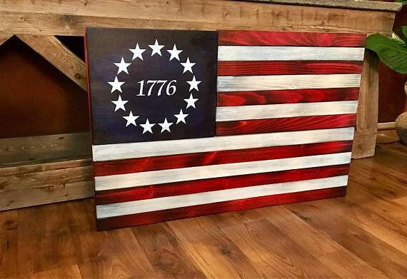 Rustic American Flag Distressed Wood Flag Wooden American | Etsy