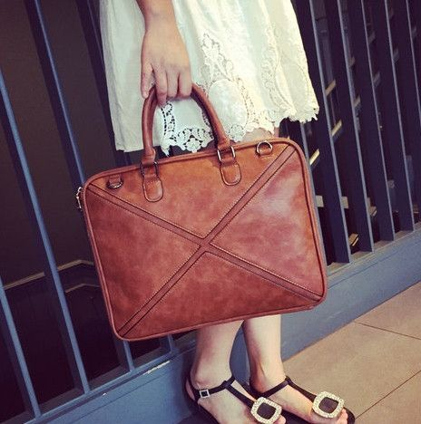 Unique Trendy Women's genuine leather business Leather handbag