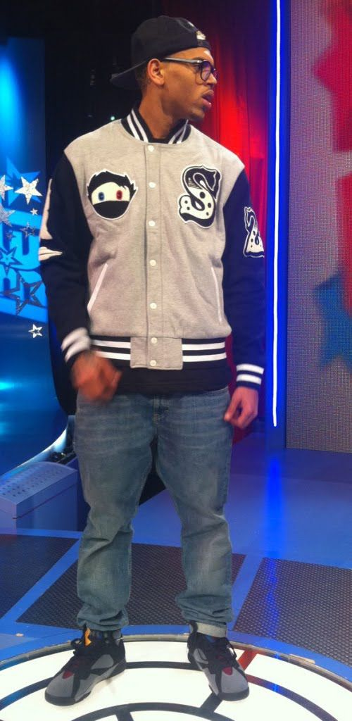 9bb87c5c0eb Wiz Khalifa Varsity Jacket | ... Brown rockin the Air Jordan 7 ...