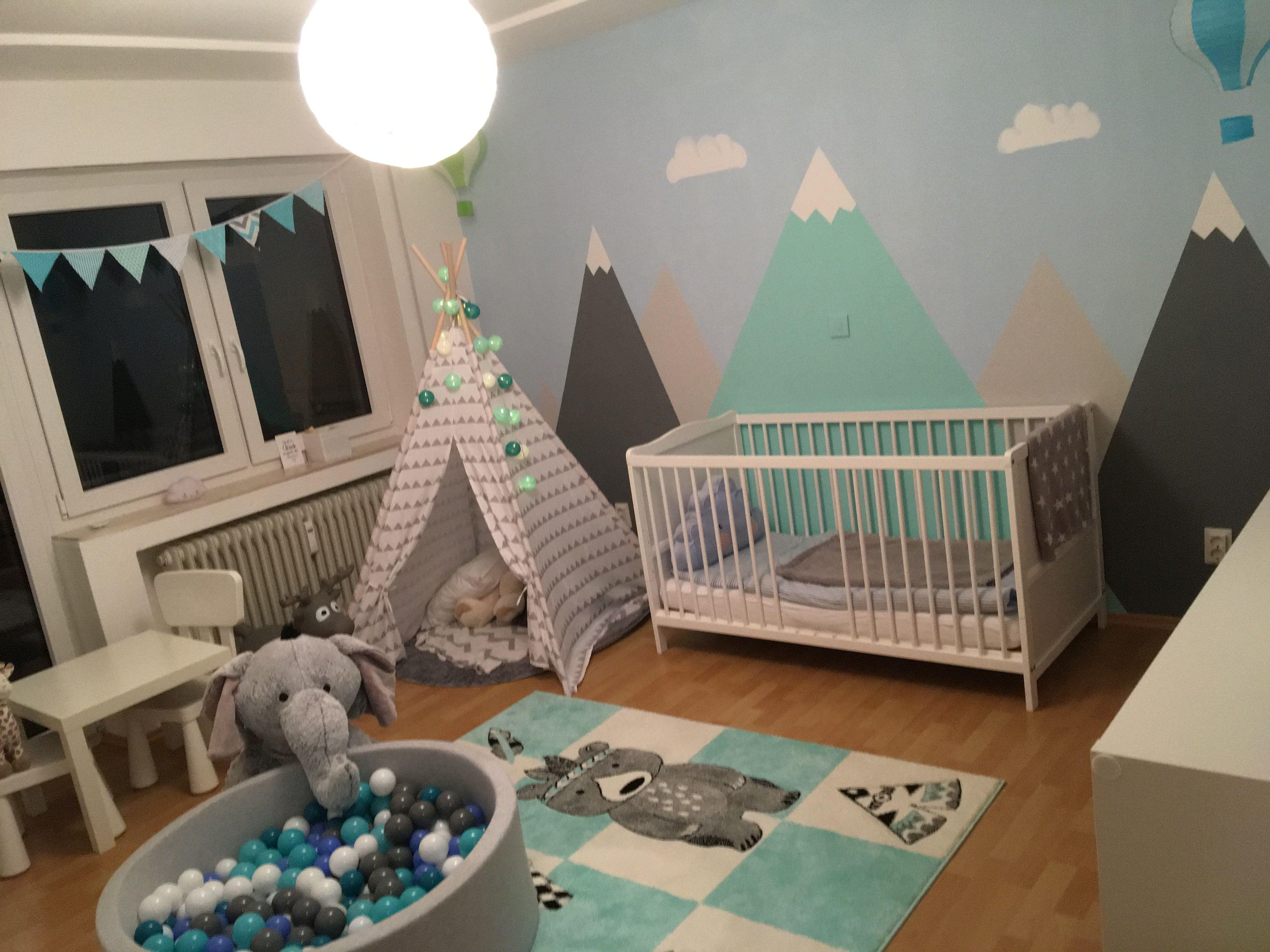 Kinderzimmer Junge Berge Mountains Heißluftballon Tipi Indianer Bällebad Kinder Zimmer Kinderzimmer Junge Kinderzimmer