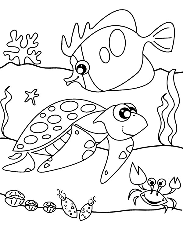 Sea Animals Coloring Sheet For Children Printable Image Fish Coloring Page Free Coloring Pag Turtle Coloring Pages Giraffe Coloring Pages Easy Coloring Pages