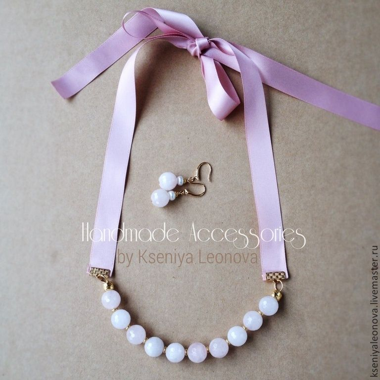 Купить Колье на лентах с розовым кварцем - бледно-розовый, розовый, розовый кварц, лиловый, коралловый