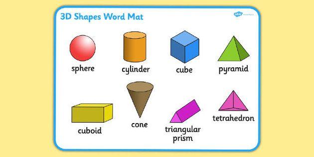 3D Shape Word Mat | Maths | Pinterest