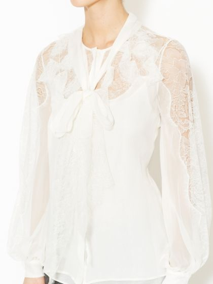 c70dbc9e2509e Silk Chantilly Lace Blouse by Oscar de la Renta at Gilt