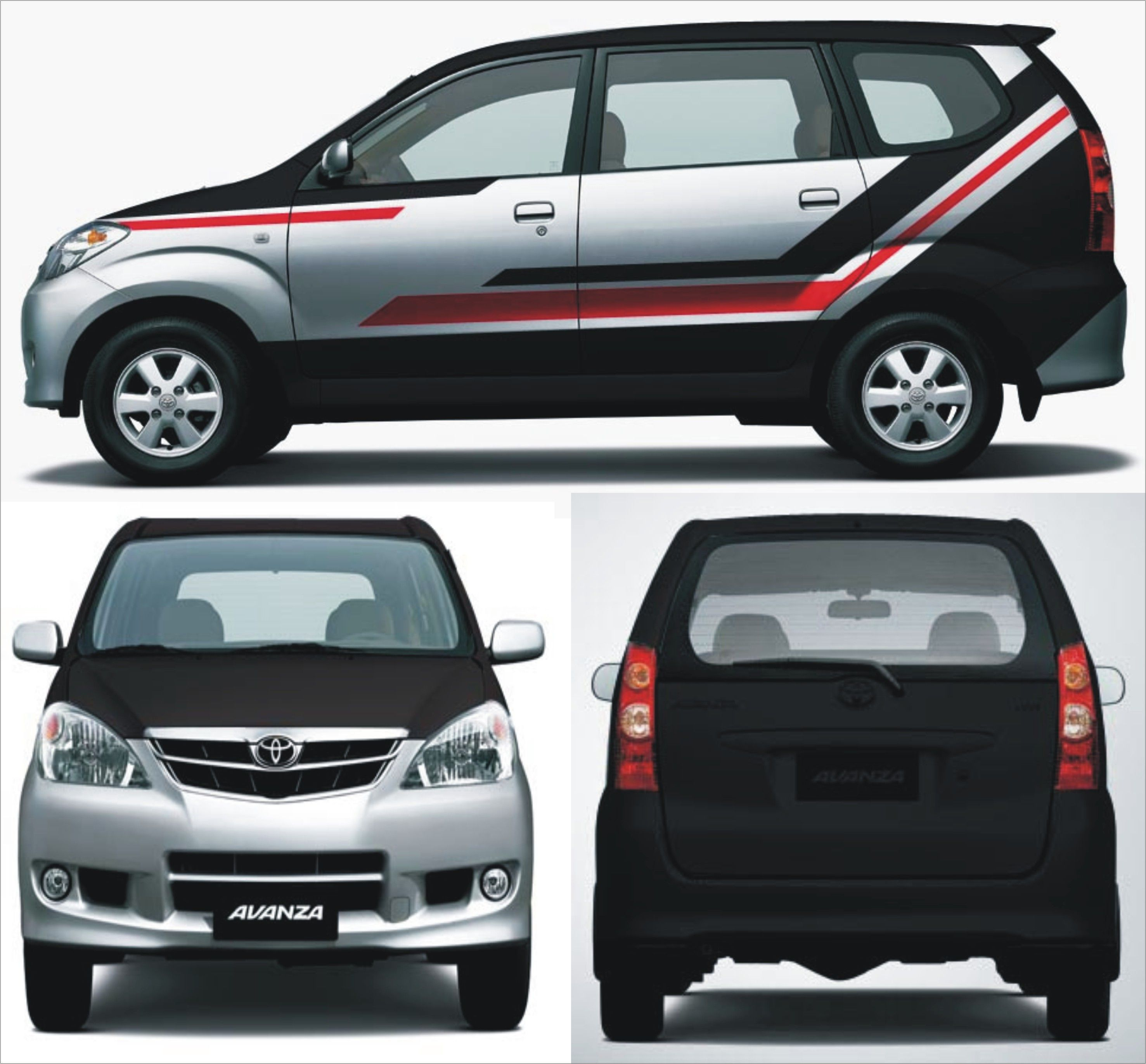 Toyota car sticker design - Toyota Avanza Silver Black Red Striping Wrapping Sticker Concept