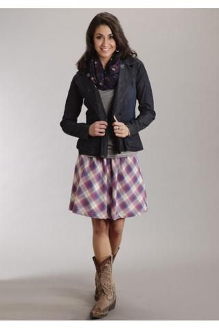 Women's Dresses and Skirts Purple Orchid Dobby Plaid Skirt Stetson ...