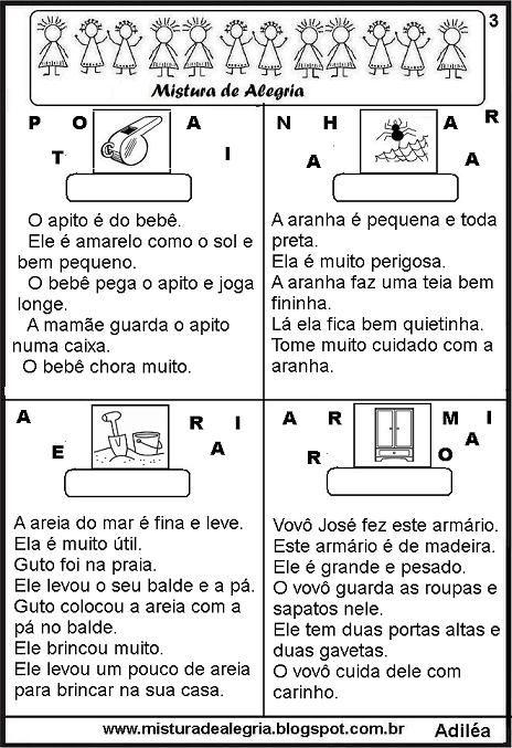 Pin De Milani Alves Em Ficha De Leitura Cartilha Alfabetização