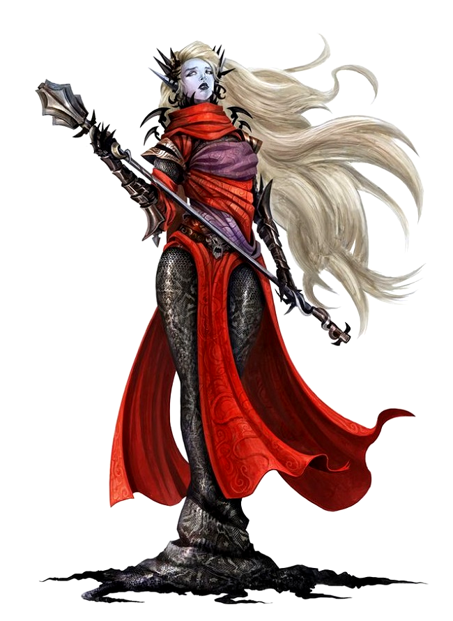 Female Dark Elf Aristocrat Sorcerer - Pathfinder PFRPG DND D&D d20