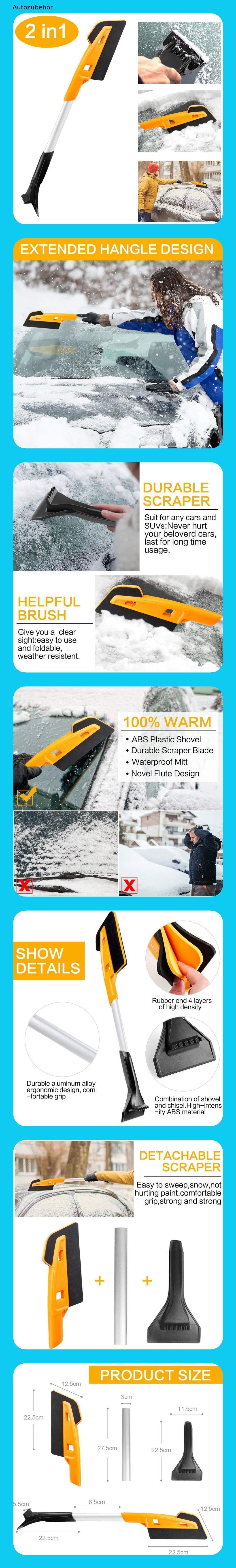 MATCC Eiskratzer Auto mit Besen Schneebesen Auto Eisschaber 2 in 1 Schneeb/ürste mit 270/° B/ürstenkopf Gro/ß und Dick Schneefeger f/ür Car Auto SUV