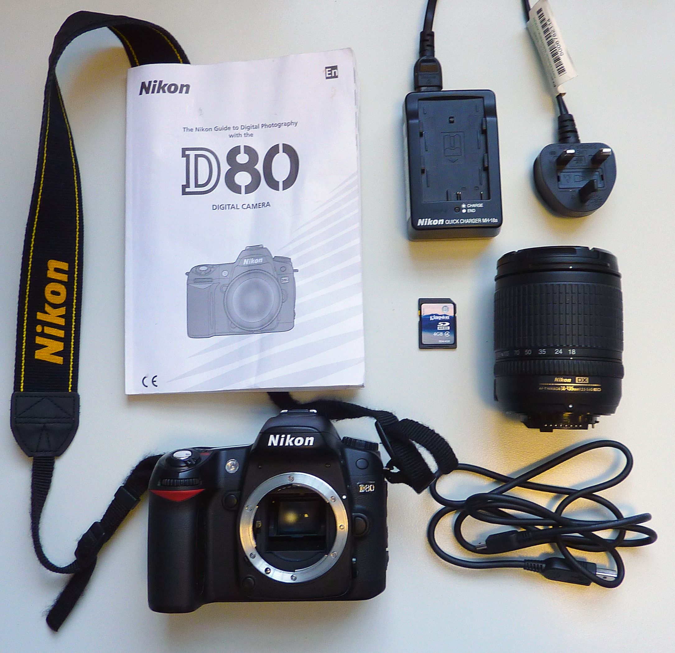 The Nikon D80 Kit includes the following:- Camera Body and Strap, AF-s dx  zoom 18-135mm f/3.5-5.6g Lens, 4GB SD Card, User Manual, USB Cable, ...