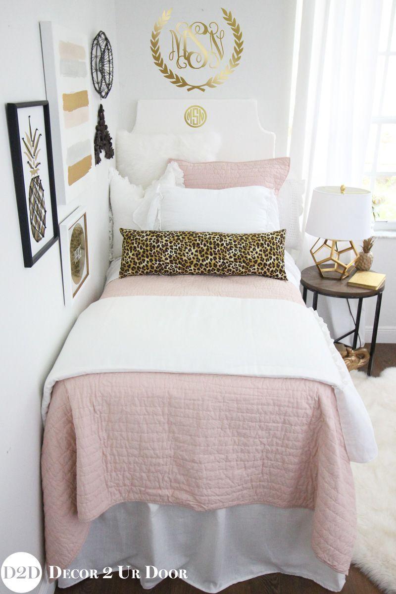 Blush Pink Cheetah Print Designer Dorm Bedding Set Luxurybeddingideas Dorm Room Colors Pink Dorm Rooms Dorm Bedding Sets