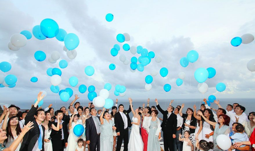 Teal And White Balloon Release