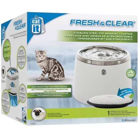 Photo of Catit, Fresh & Clear Stainless Steel Top Cat Drinking Fountain, White – Walmart.com