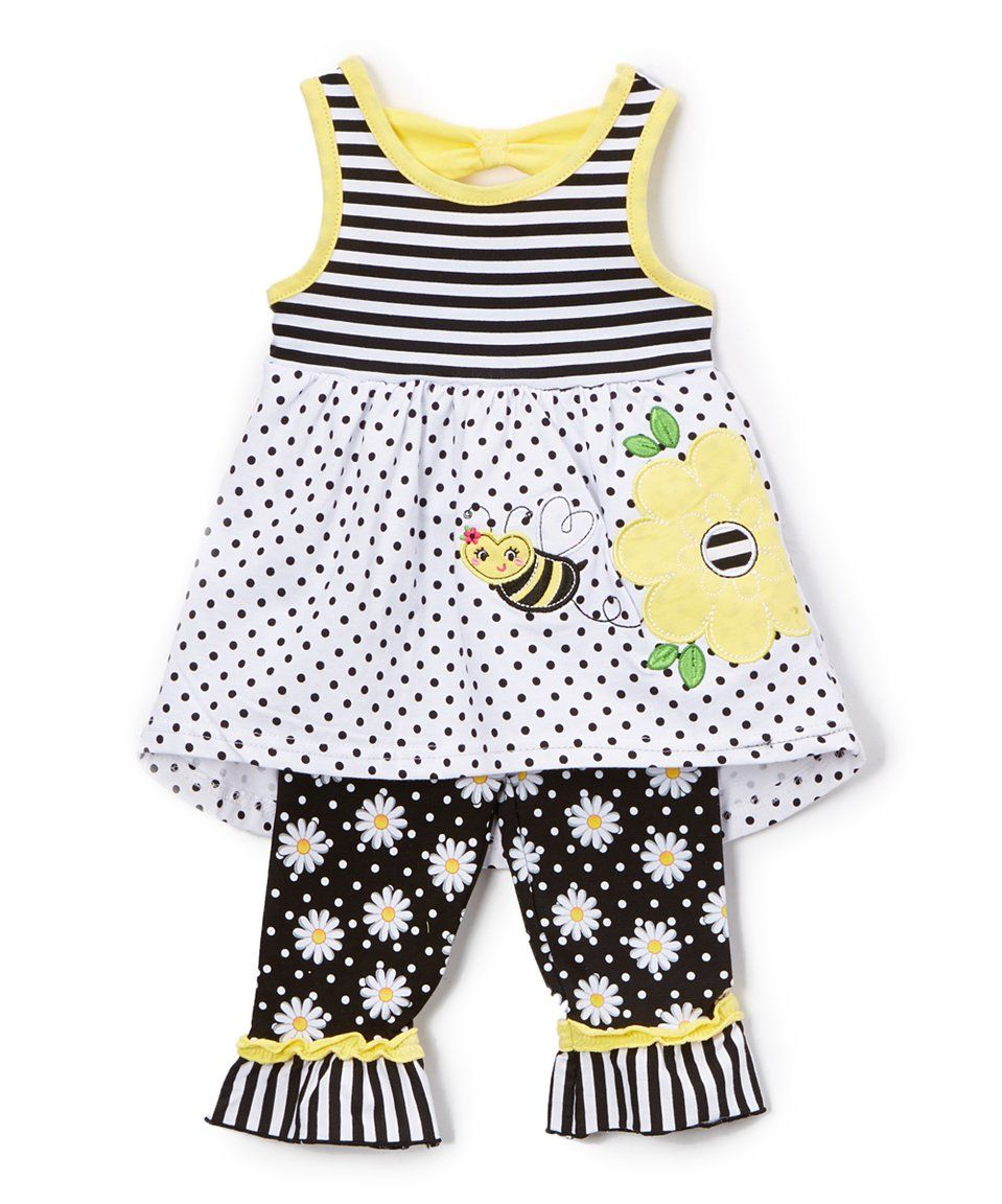 a551990ef6b9 Love this Nannette Kids | Yellow & Black Dot Bee Tunic & Leggings - Toddler  & Girls by Nannette Kids on #zulily! #zulilyfinds