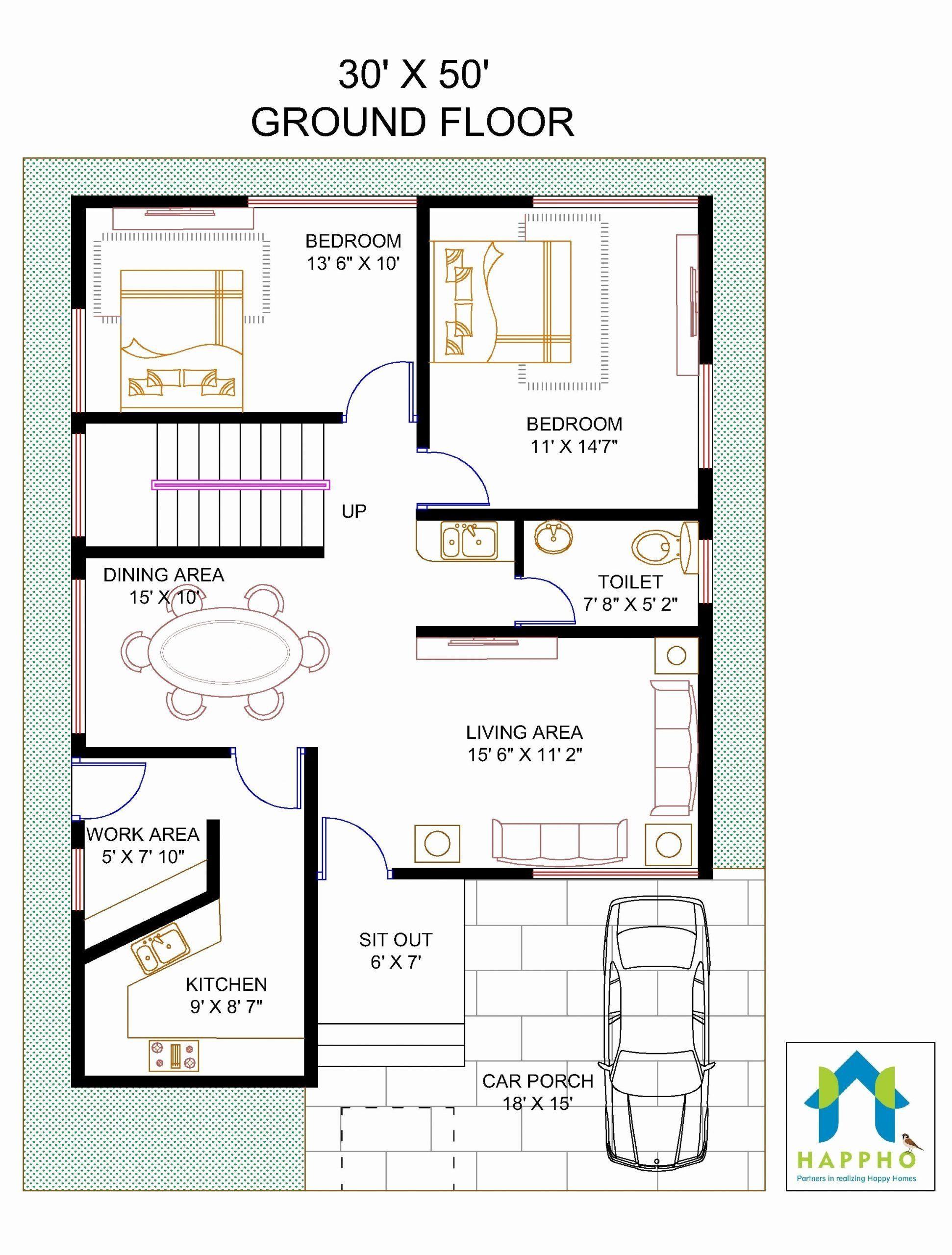 1600 Sf House Plans Inspirational Floor Plan For 30 X 50 Feet Plot In 2020 Duplex Floor Plans Floor Plans Unique Floor Plans