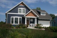 Blue House With Cedar Trim Google Search House Exterior Blue White Exterior Houses Dark Blue Houses