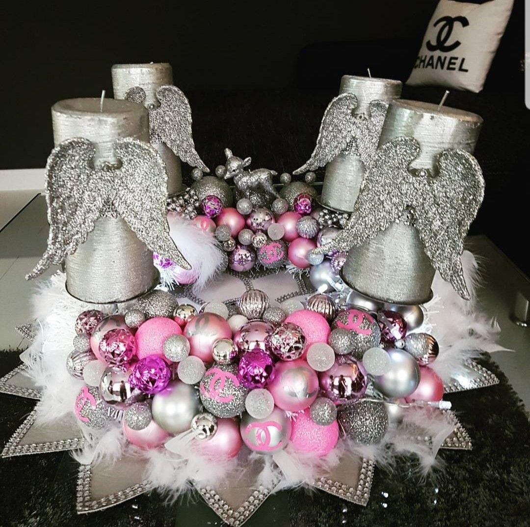 adventskranz weihnachtskranz rosa silber engel kerzen. Black Bedroom Furniture Sets. Home Design Ideas