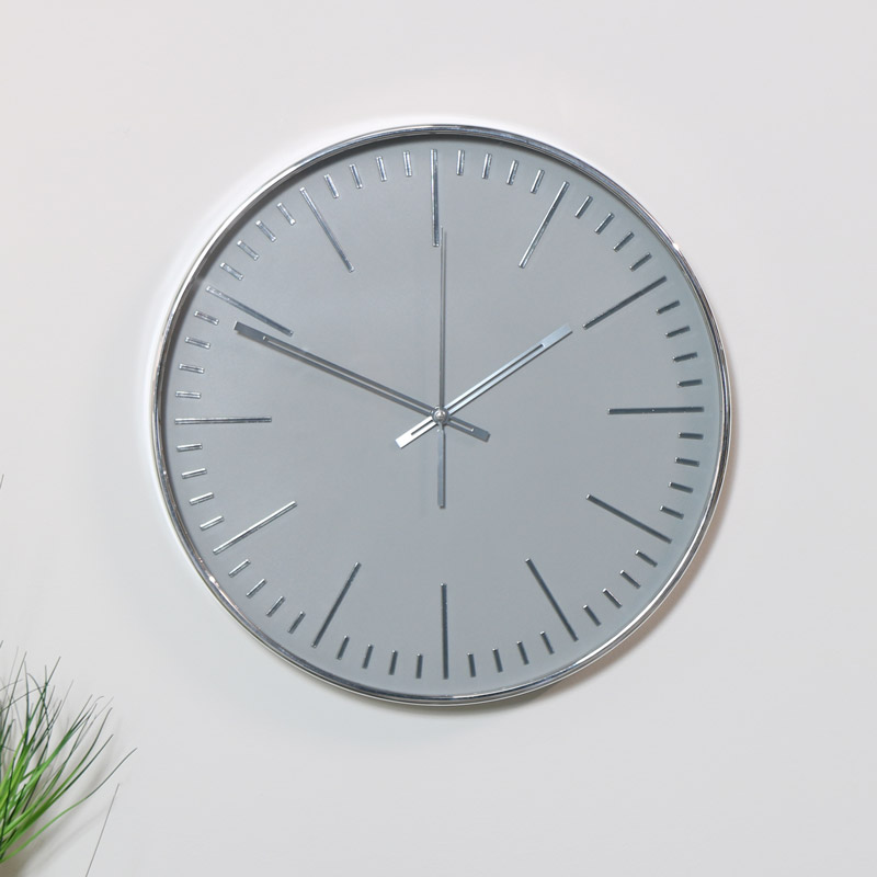 Silver Wall Clock With Images Silver Wall Clock Wall Clock Silver Walls