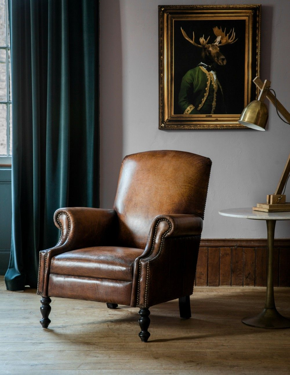 Crazy About The Moose Picture In The Background Distressed Leather Gentlemen S Armchair Leather Chair Living Room Vintage Leather Sofa Furniture