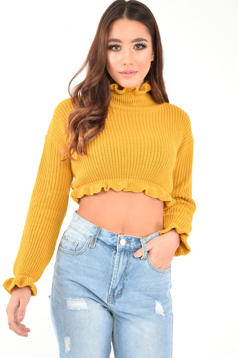 1ea03b68fd4 Mustard Ruffle Hem Chunky Knit Crop Jumper - Alannah ...
