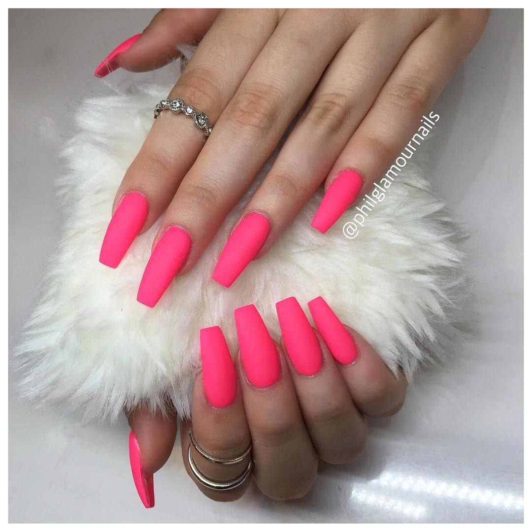 Matte Hot Pink Mails For Coachella2016 Pink Acrylic Nails Trendy Nails Hot Pink Nails