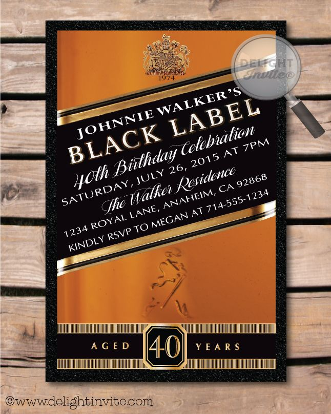 Johnnie Walker Over the Hill 40th Birthday Party Invitations ...