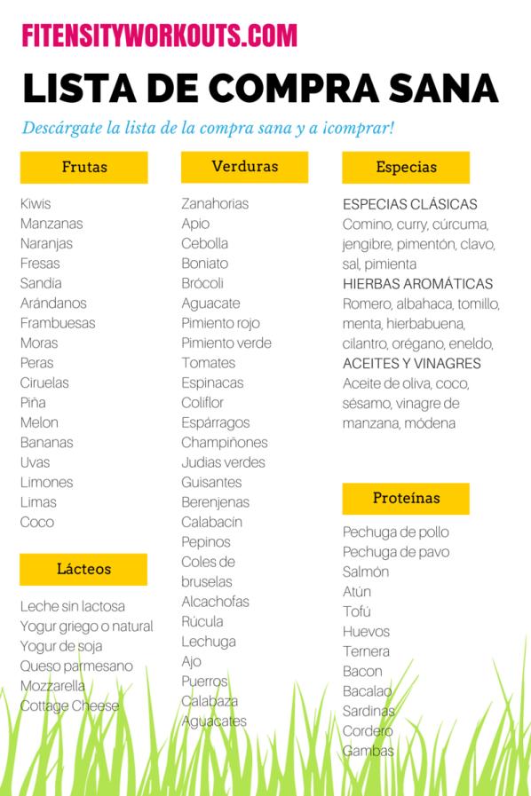 Lista De La Compra Sana Descárgatela Gratis Lista De La Compra Saludable Menú Saludable Dieta Saludable