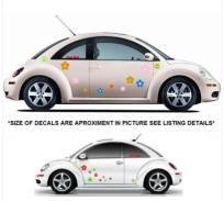 VW Volkswagen Beetle Flowers Daisies Vinyl Car Truck Wall Laptop Decals Stickers mc3 FREE SHIP