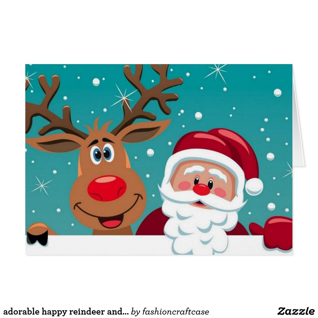 adorable happy reindeer and Santa Claus Holiday Card | Zazzle.com #reindeerfoodrecipe
