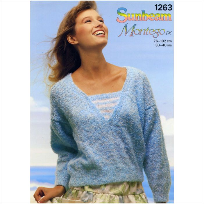 Ladies Jumper Sweater Montego Knitting Pattern Womens Dk Sunbeam