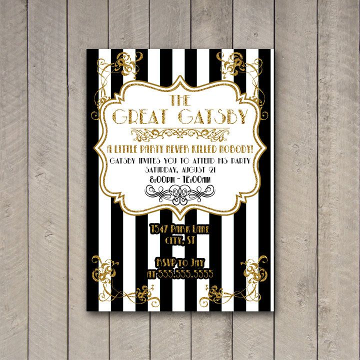 Gatsby Party Invitation, The Great Gatsby Party Invite, Gatsby Party ...