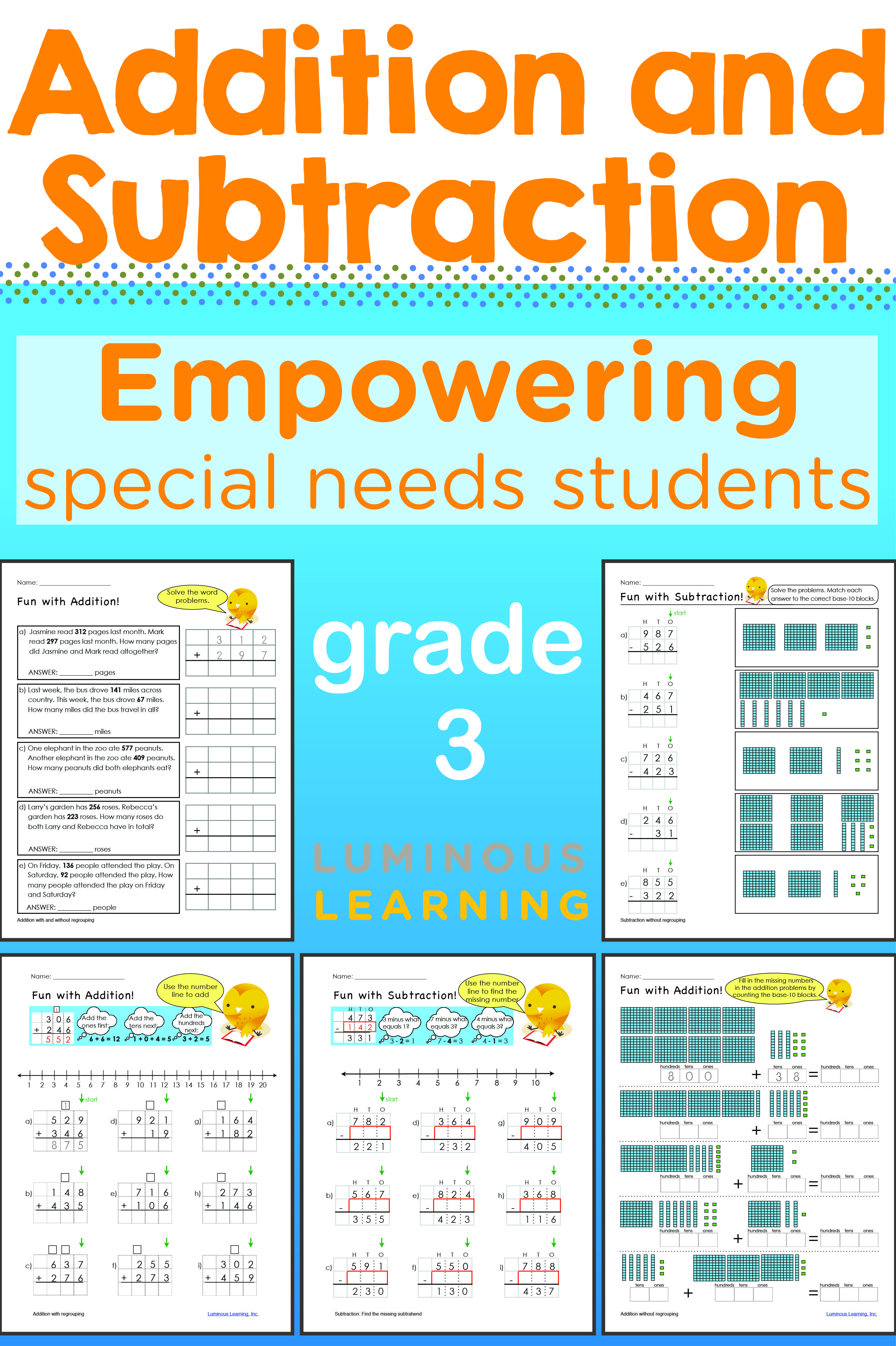 Grade 3 Addition And Subtraction Workbook Addition And Subtraction Math Visuals Upper Elementary Math Math addition lesson for grade