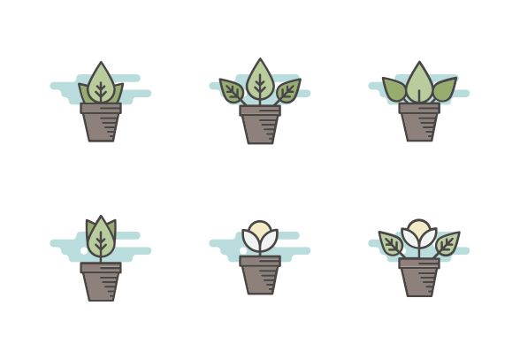 Plants In Pot Icons By Teleymon Plant Doodle Plant Icon Flower Icons