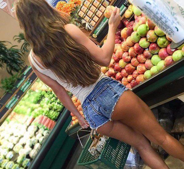 teen girls sexy in supermarket
