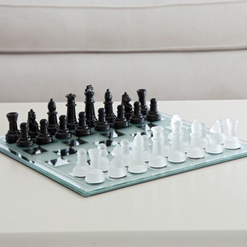 Black and White Mirror Board Chess Set - Chess Sets at Hayneedle