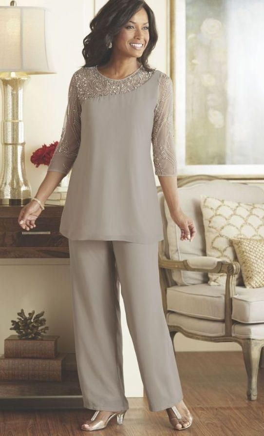 b4142bc48f Silver Mother Of The Bride Groom Pants Suits Cheap Plus Size Beaded 3 4 Long  Sleeves Chiffon Formal Weddings Guest Occasion Dresses Joan Rivers Suit  Mathar ...