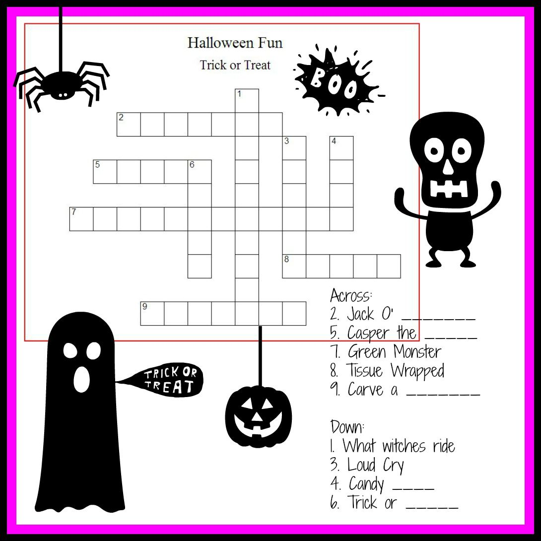 Halloween Crossword Puzzle For Little Monsters Halloween Puzzle