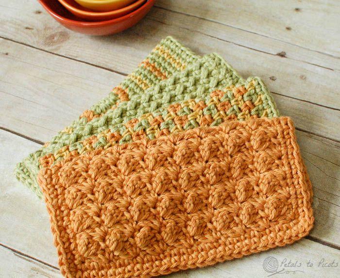 Crunchy Stitch Crochet Dishcloth Pattern | Ganchillo, Paño de cocina ...